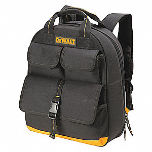 "23-Pocket Polyester General Purpose Tool Backpack, 16""H x 13""W x 5-1/2""D, Black"