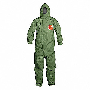 Hooded Coverall,Elastic,Green,XL,PK4