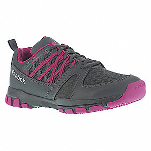 "3""H Women's Athletic Shoes, Plain Toe Type, Gray, Size 7"