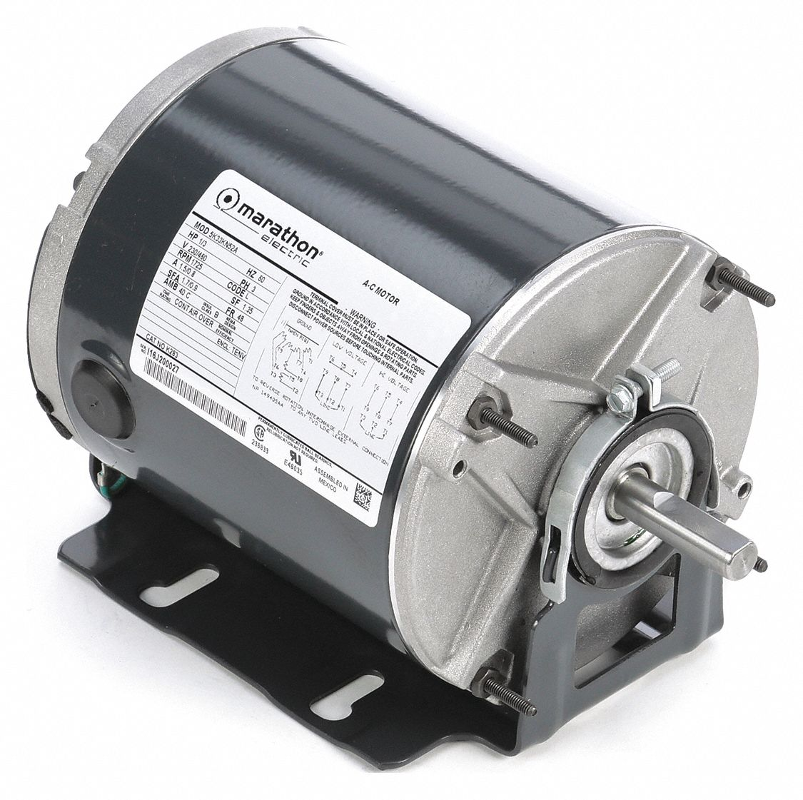 MARATHON MOTORS 1/3 HP Belt Drive Motor, 3-Phase, 1725 Nameplate RPM,  230/460 Voltage, Frame 48 - 403T96|5K33KN52 - GraingerGrainger