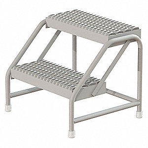 "Aluminum Step Stand, 20"" Overall Height, 500 lb. Load Capacity, Number of Steps: 2"