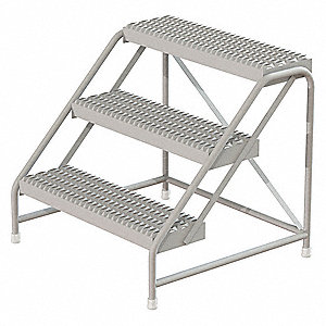 "Aluminum Step Stand, 30"" Overall Height, 500 lb. Load Capacity, Number of Steps: 3"