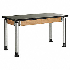 "48"" x 50"" x 39"" Wood Adjustable Table with 500 lb. Load Capacity, Black, Oak"
