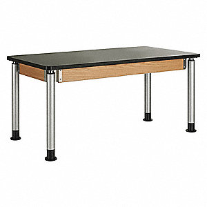 "60"" x 30"" x 39"" Wood Adjustable Table with 500 lb. Load Capacity, Black, Oak"
