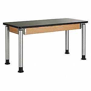 "54"" x 24"" x 39"" Wood Adjustable Table with 500 lb. Load Capacity, Black, Oak"
