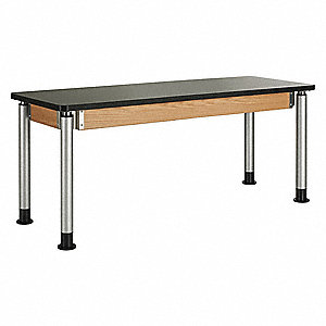 "72"" x 24"" x 39"" Wood Adjustable Table with 500 lb. Load Capacity, Black, Oak"