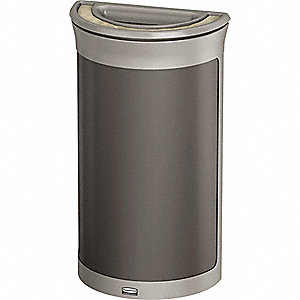 "Enhance™ 7-1/2 gal. Half-Round Ash Top Decorative Trash Can, 31-43/64""H, Gray"