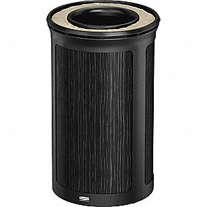 "Enhance™ 15 gal. Round Ash Top Decorative Trash Can, 31-59/64""H, Black"
