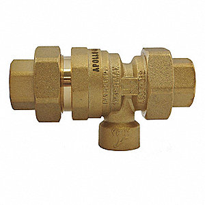 "1/2"" Dual Check Valve w Atmosheric Vent, Lead Free Brass, FNPT Connection Type"