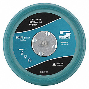 "6"" Hook-and-Loop Disc Backup Pad, 5/16""-24 Hook-and-Loop Back Mount, 13,000 Max. RPM, 1 EA"