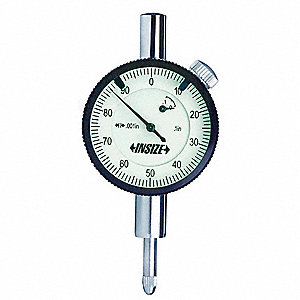 "Continuous Reading Dial Indicator, AGD 1, 1.575"" Dial Size, 0 to 0.250"" Range"