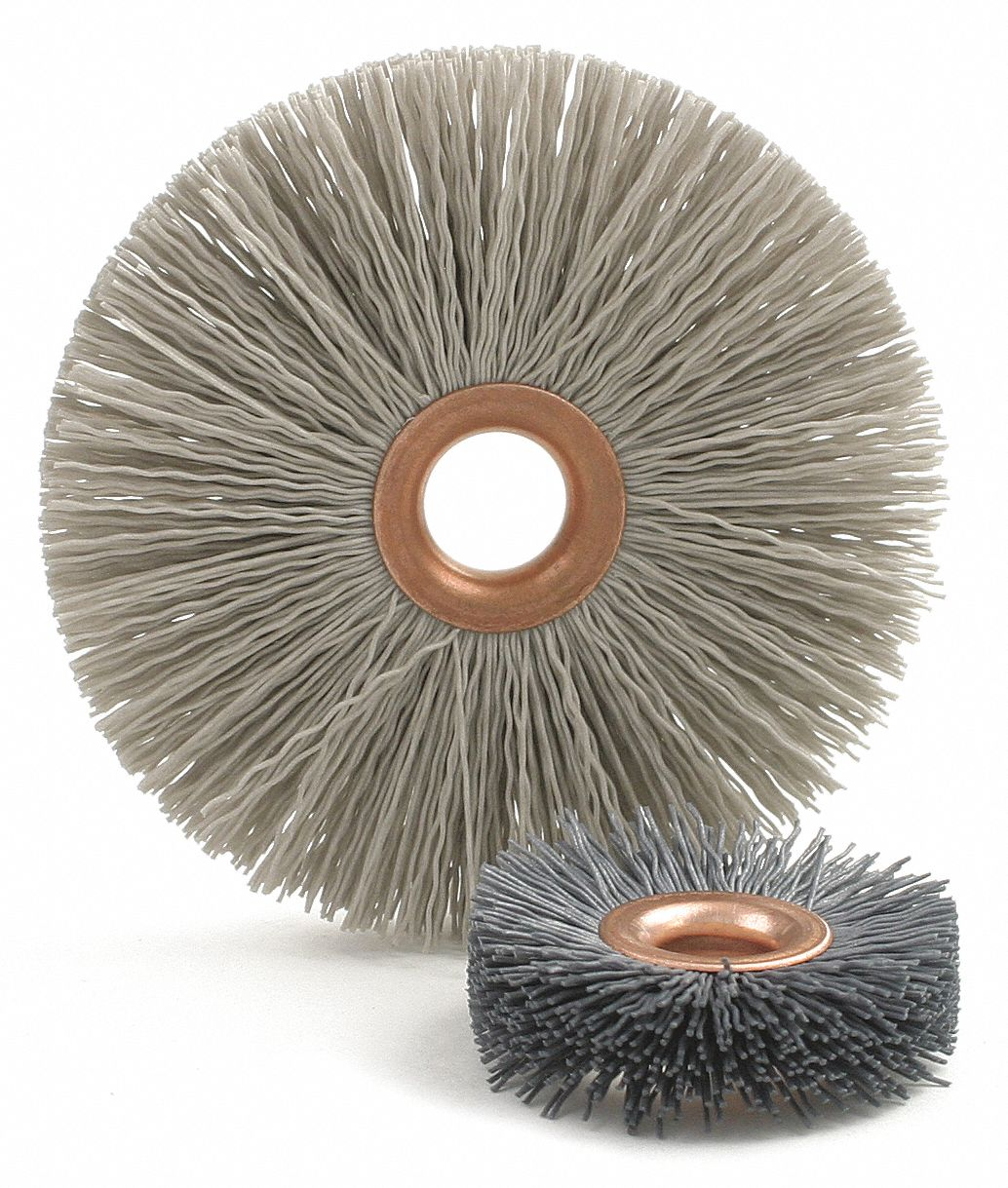 1 in Crimped Wire Wheel Brush, Arbor Hole Mounting, 0.018 in Wire Dia., 1 EA