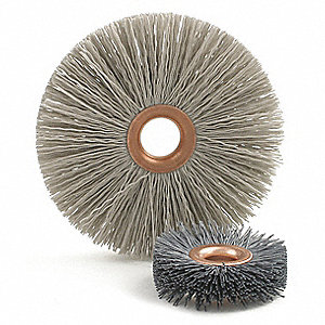 "4"" Crimped Wire Wheel Brush, Arbor Hole Mounting, 0.018"" Wire Dia., 1-7/16"" Bristle Trim Length, 1 E"