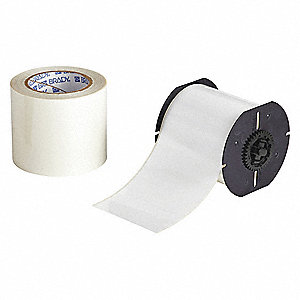 "White Polyester Label Tape Roll, Indoor Label Type, 100 ft. Length, 4"" Width"