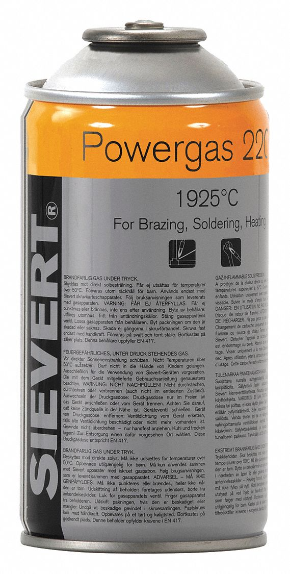 Powergas, Butane, Propane, 3.72 oz, 5 1/2 in Overall Height