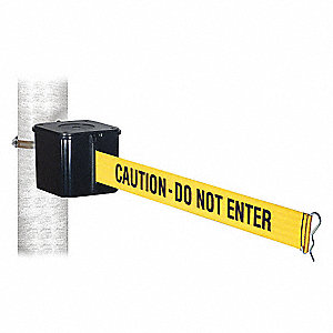Warehouse Mount Retractable Belt Barrier, Yellow with Black Text, Caution - Do Not Enter