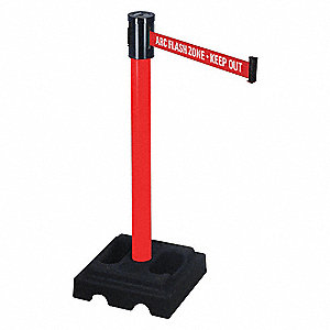 Belt Barrier,Square,Black Rubber,PVC
