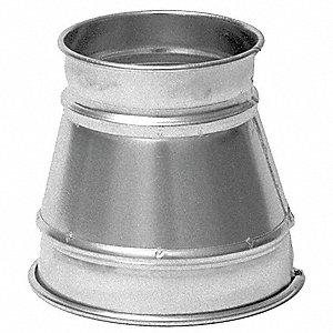 "Galvanized Steel Reducer, 6"" x 4"" Duct Fitting Diameter, 8"" Duct Fitting Length"