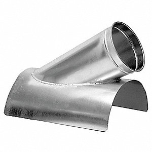 "Galvanized Steel In-Cut, 12"" x 6"" Duct Fitting Diameter, 12"" Duct Fitting Length"
