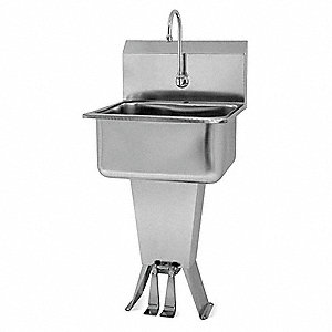 Stainless Steel Hand Sink, With Faucet, Floor Mounting Type, Silver