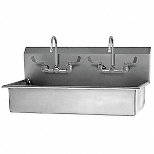 Stainless Steel Wash Station, With Faucet, Wall Mounting Type, Silver