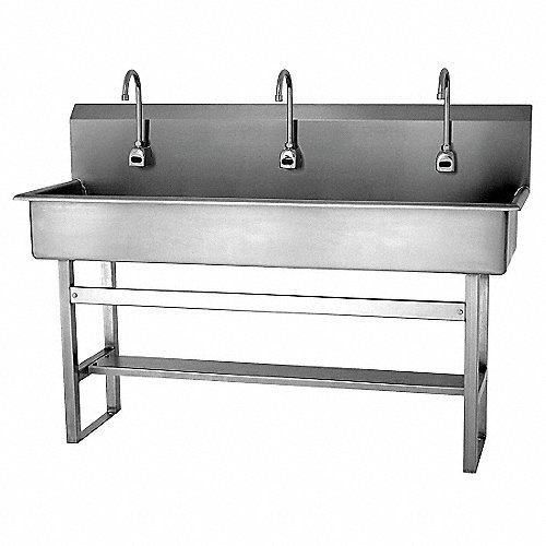Sani lav estaciones lavado al45pulg acero inox lavabos y for Lavabo de manos