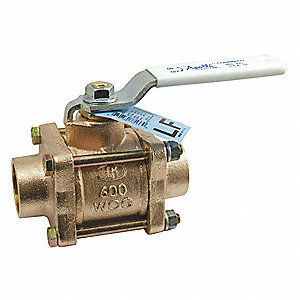 "Lead-Free Bronze Sweat x Sweat Ball Valve, Lever, 1/2"" Pipe Size"