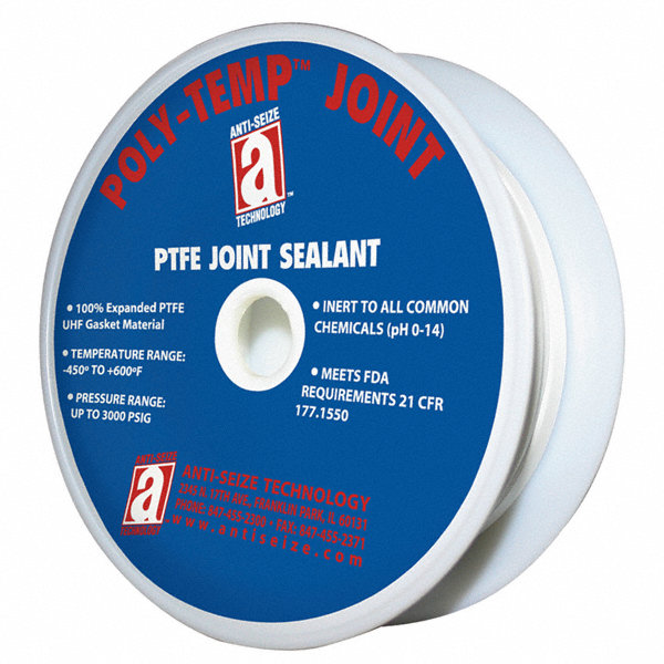 poly temp 3 4 w ptfe joint sealant tape white 1200 length 40e313 28320 grainger. Black Bedroom Furniture Sets. Home Design Ideas