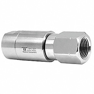 "Manual Rotation Rotary Union, Single-Flow, Body Dia.: 0.86"", Size: Inlet 1/4""NPTF - Outlet 1/4""NPTF"