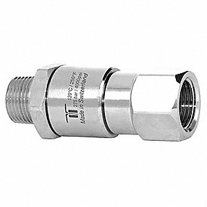 "Manual Rotation Rotary Union, Single-Flow, Body Dia.: 0.94"", Size: Inlet 1/2"" NPTM - Outlet 1/2"" NPT"