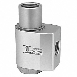 "Manual Rotation Rotary Union, Single-Flow, Body Dia.: 1.77"", Size: Inlet 3/8""NPTF - Outlet 1/2""NPTF"