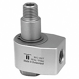"Manual Rotation Rotary Union, Single-Flow, Body Dia.: 1.77"", Size: Inlet 1/4""NPTF - Outlet 3/8""NPTM"
