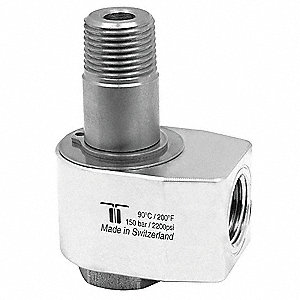 "Manual Rotation Rotary Union, Single-Flow, Body Dia.: 1.77"", Size: Inlet 3/8""NPTF - Outlet 3/8""NPTM"