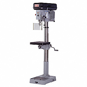 "2 Motor HP Floor Drill Press, Belt Drive Type, 18"" Swing, 220 Voltage"