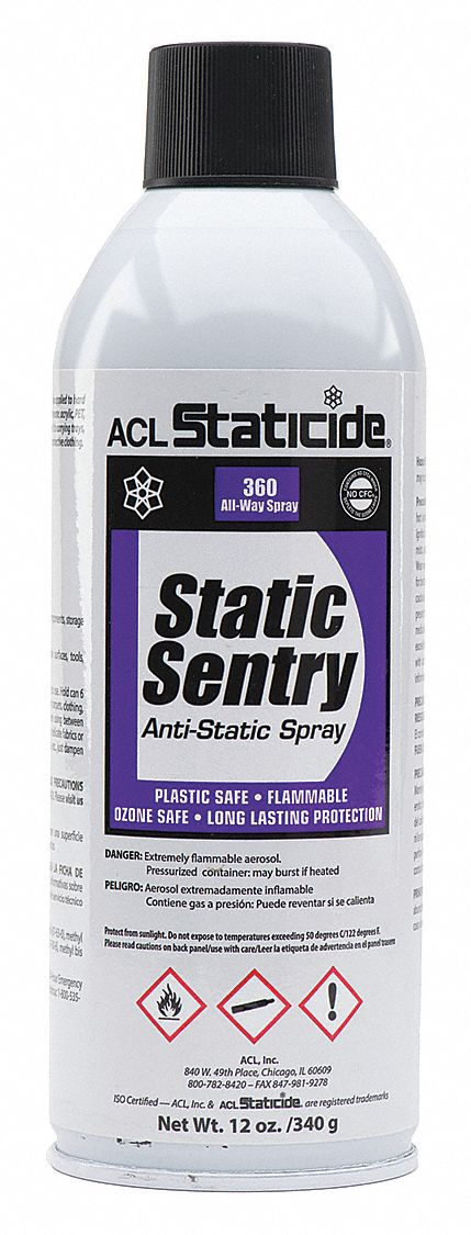 Anti-Static Control Spray,  12 oz,  Aerosol Can,  Ready to Use Recommended Dilution