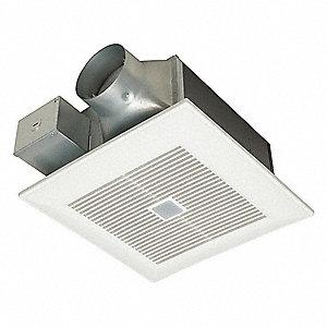 """10-1/4"""" x 10-1/4"""" x 5-5/8"""" Low Profile Bathroom Ventilation Fan, 80, 110 CFM, 0.18, 0.23 Amps"""
