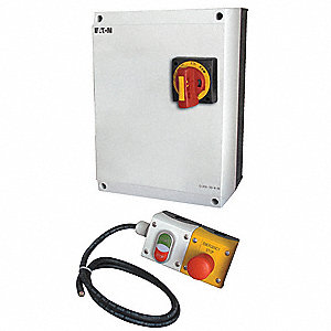 208VAC Push Button IEC Combination Starter, 4X Enclosure NEMA Rating, Amps AC: 20