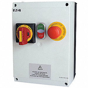 240VAC Push Button IEC Combination Starter, 4X Enclosure NEMA Rating, Amps AC: 20