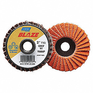 "2"" Flap Disc, Type 2 Mounting Hole, Fine, 120 Grit Ceramic, 1 EA"