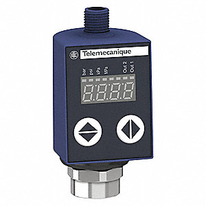 Fluid and Air Pressure Sensor, 0 to 5801 psi Range, 4 to 20mA Analog Output, Programmable