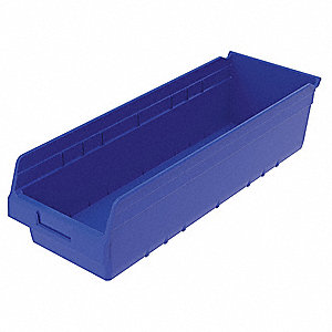 "Shelf Bin, Blue, 6""H x 23-5/8""L x 8-3/8""W, 1EA"