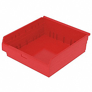"Shelf Bin, Red, 8""H x 23-5/8""L x 22-1/2""W, 1EA"