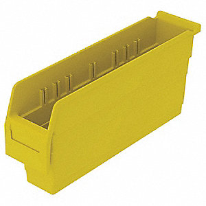 "Shelf Bin, Yellow, 8""H x 17-5/8""L x 4-1/8""W, 1EA"