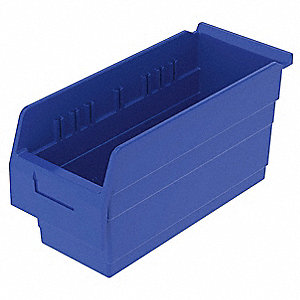 Shelf Bin,6-5/8 In. W,8 In. H,Blue