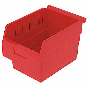 "Shelf Bin, Red, 8""H x 11-5/8""L x 8-3/8""W, 1EA"