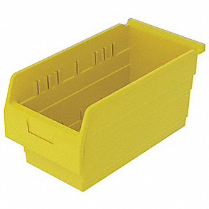 "Shelf Bin, Yellow, 8""H x 15-5/8""L x 8-3/8""W, 1EA"