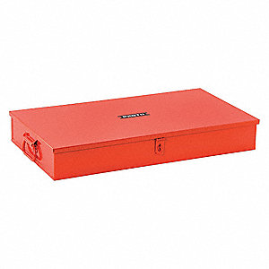 "Steel Socket Storage Box, 4""H x 26-3/4""W x 14-1/2""D, 1344 cu. in., Red"