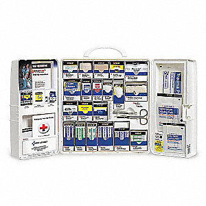 First Aid Kit, Cabinet, Plastic Case Material, General Purpose, 25 People Served Per Kit