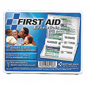 First Aid Kit, Kit, Plastic Case Material, Travel, 5 People Served Per Kit