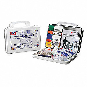 First Aid Kit, Kit, Plastic Case Material, Vehicle, 25 People Served Per Kit